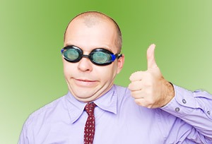 Crazy businessman showing thumb up