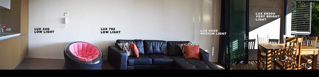 Light levels across a living room